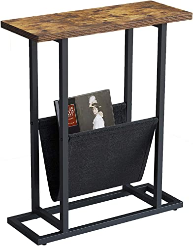 Yusong Retro Industrial Side Table,21-Inch Wood Metal End Table