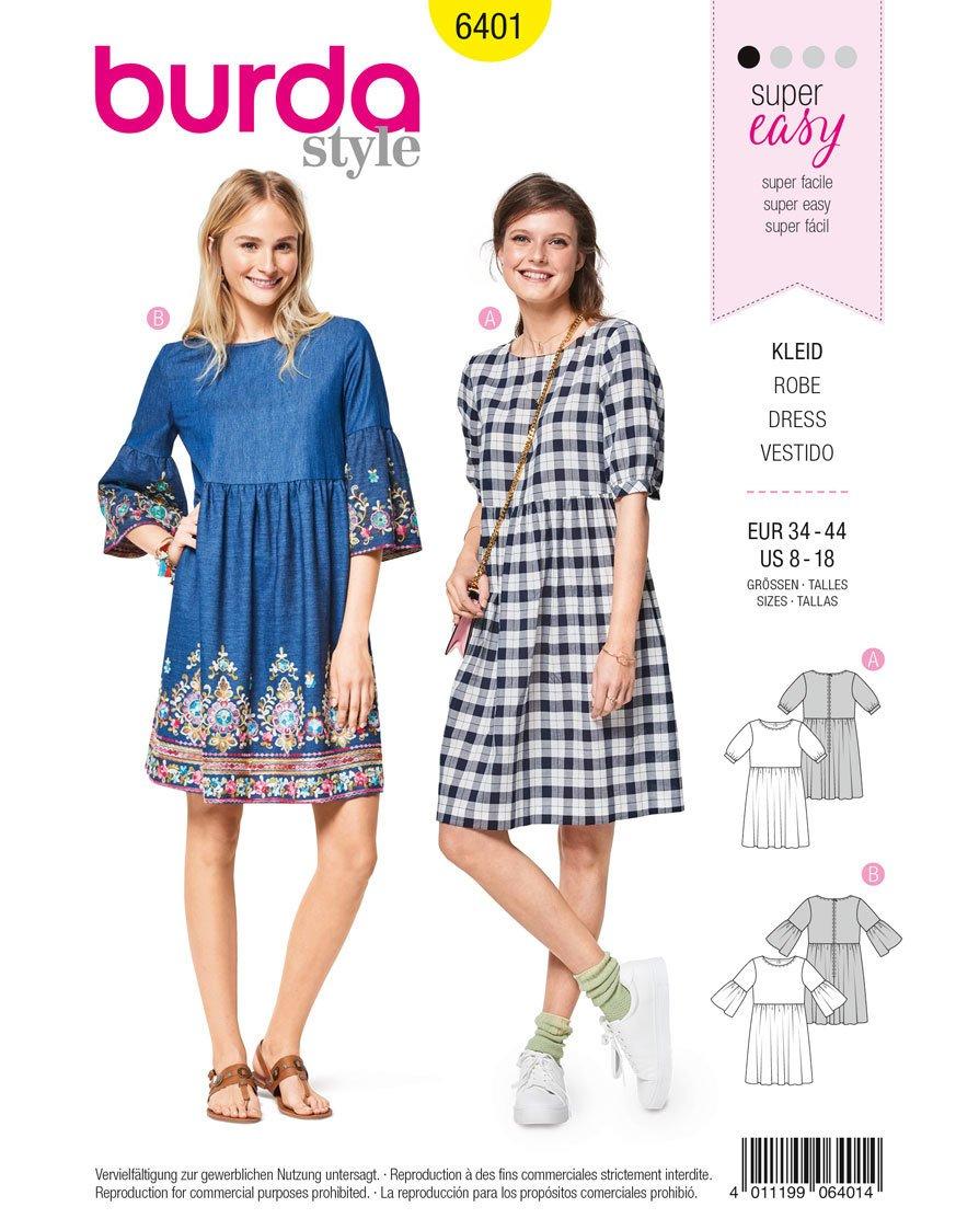 Patrón de costura Burda Style b6401 - misses \'swing vestido con ...