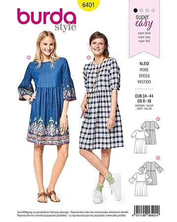 1648dd8fb05773 Burda 6401 Schnittmuster Kleid (Damen, Gr. 34-44) Level 1 super Easy ...