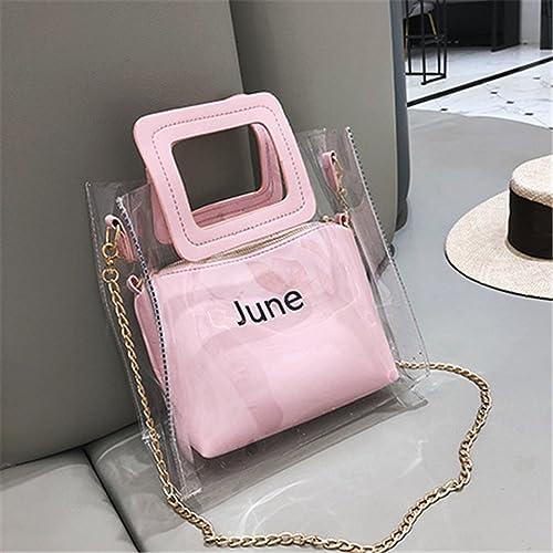 Luckywe Mujer carteras bolsos PVC clara Letra de cadena de 2 piezas diseñador bolso bolso de mano A65 Rosado: Amazon.es: Zapatos y complementos