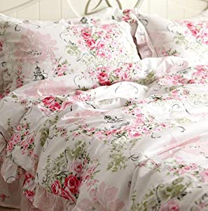 FADFAY Duvet Cover Set Queen Elegant and Shabby Pink Rosette Floral Bedding with Hidden Zipper Closure 100% Cotton with Floral Bedskirt 4 Pieces Queen Size