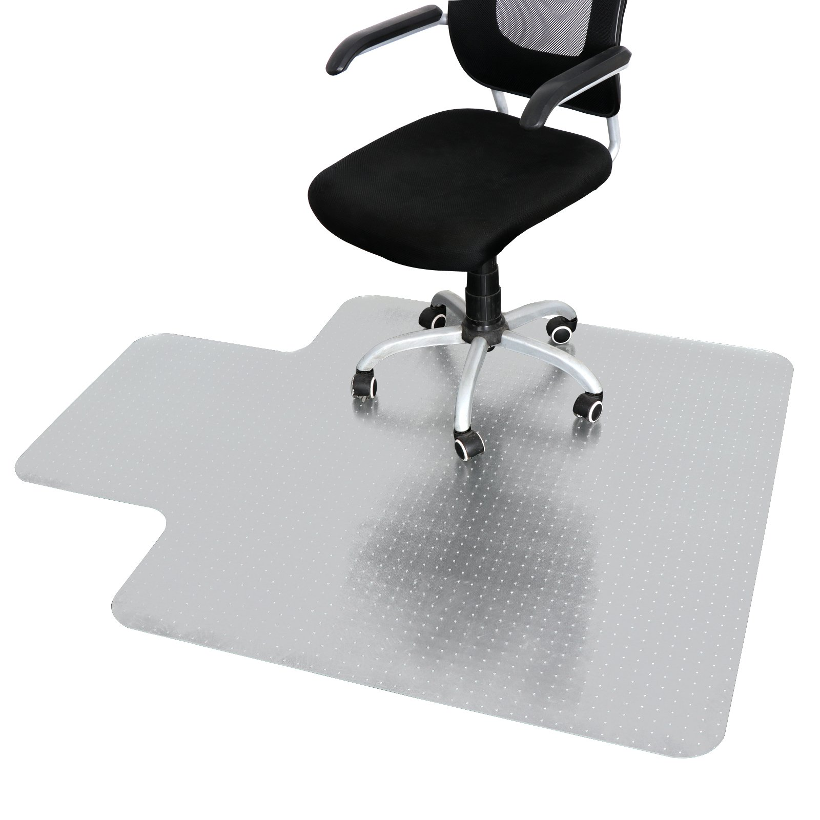 48'' X 60'' Multiple Sizes PVC Desk Chair Mat Carpet Transparent Hardwood Floor Protector Clear Vinyl Plastic Hard Floors Runner with Lip for Low/Medium Pile Carpets at Home,Office