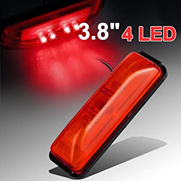 10 Pcs 4 Sealed Thin Line LED Trailer Clearance Side Marker Lights 4 Diodes Red Red rectangular led lights Surface mounts on 3 centers