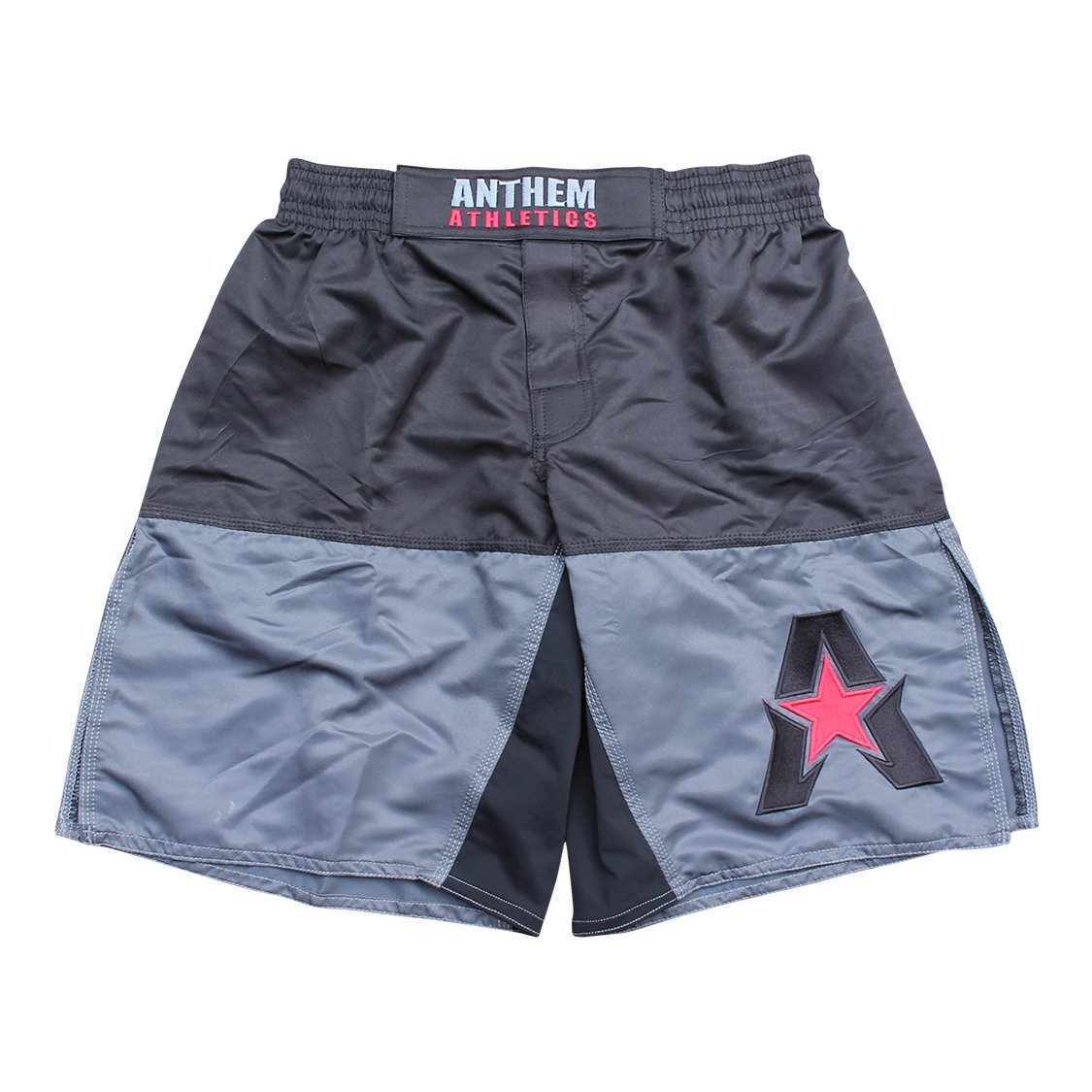 Anthem Athletics 50/50 MMA Fight Shorts - BJJ, Muay Thai, WOD, Cross-Training, OCR - Black, Grey & Red - Large