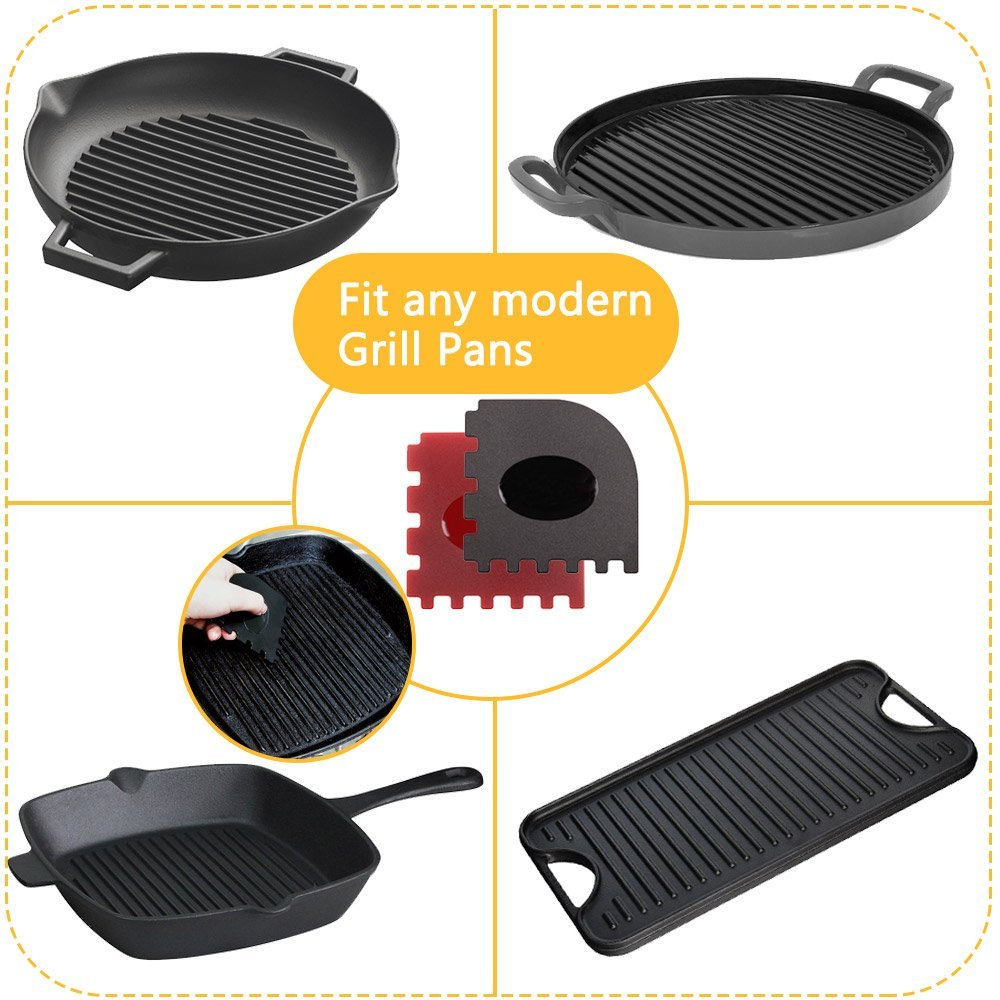 Haicheng 6 Piece Durable Grill Pan Scraper Plastic Set Tool and Silicone Hot Handle Holder for Cast Iron Skillets Frying Pans and Griddles