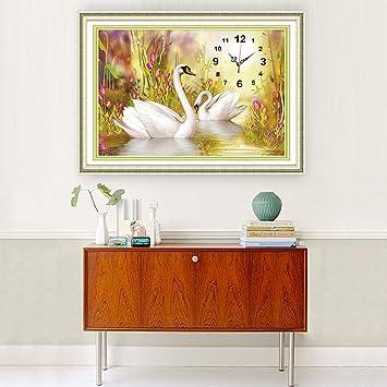 DIY 5D Swan Relojes Punto Taladro Punto De Cruz Dormitorio Sala De Estar Moderna Simple Diamante
