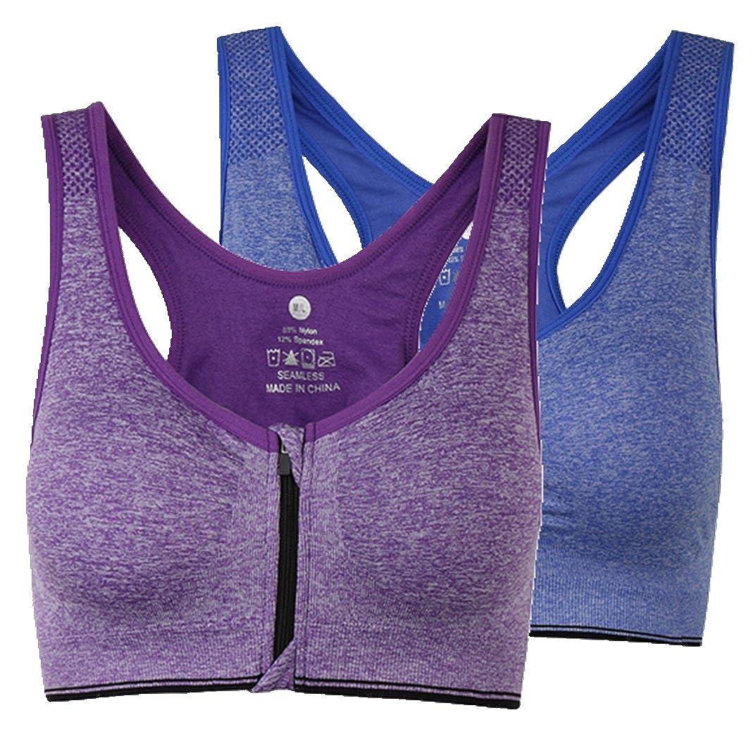 ohlyah Women's Zipper Front Closure Sports Bra Racerback Yoga Bras JH04-01