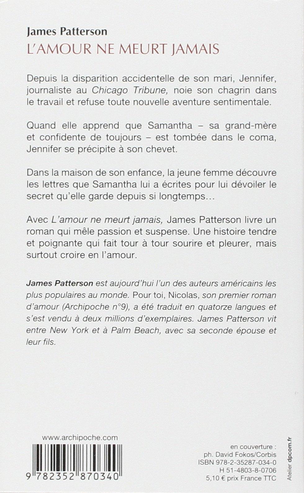 Lamour Ne Meurt Jamais James Patterson 9782352870340