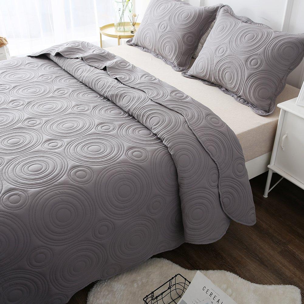 NEWLAKE Microfiber Lightweight 3 Piece Bedspread Coverlet Set,Embossed Wavelet Pattern, Queen Size by NEWLAKE (Image #3)