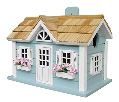 Home Bazaar Hand Made Nantucket Cottage Blue Bird House   Bird Friendly   Home  Decor