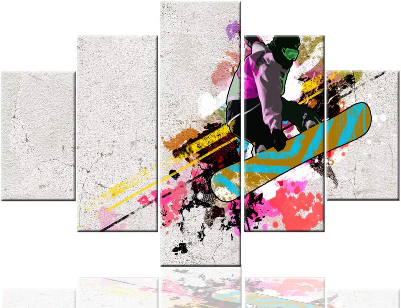 Amazon Com Living Room Wall Art Skateboarding Sport Pictures Street Cultures Artwork On Canvas Contemporary Home Decor Multi Panel Pink Prints Paintings Stretched And Framed Giclee Ready To Hang 60 Wx40 H Home Kitchen
