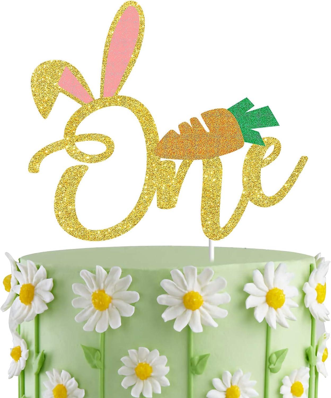 Bunny Ears One Cake Topper, Rabbit First Birthday Cake Decor; Spring Paty Decorations,Bunny Birthday Cake Smash Photo Prop
