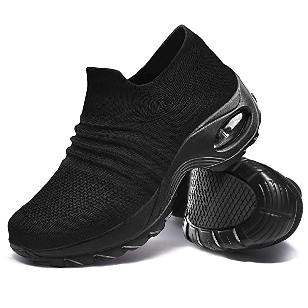 Hotaden Walking Shoes Womens Nursing Work Shoes Comfortable mesh Sock Sneakers Slip on Platform Loafers Lightweight All Black,6