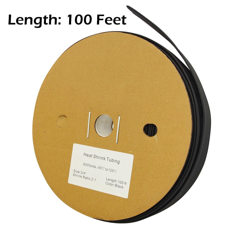 "100 FT 100/' Feet BLACK 3//4/"" 19mm Polyolefin 2:1 Heat Shrink Tubing Tube Cable"