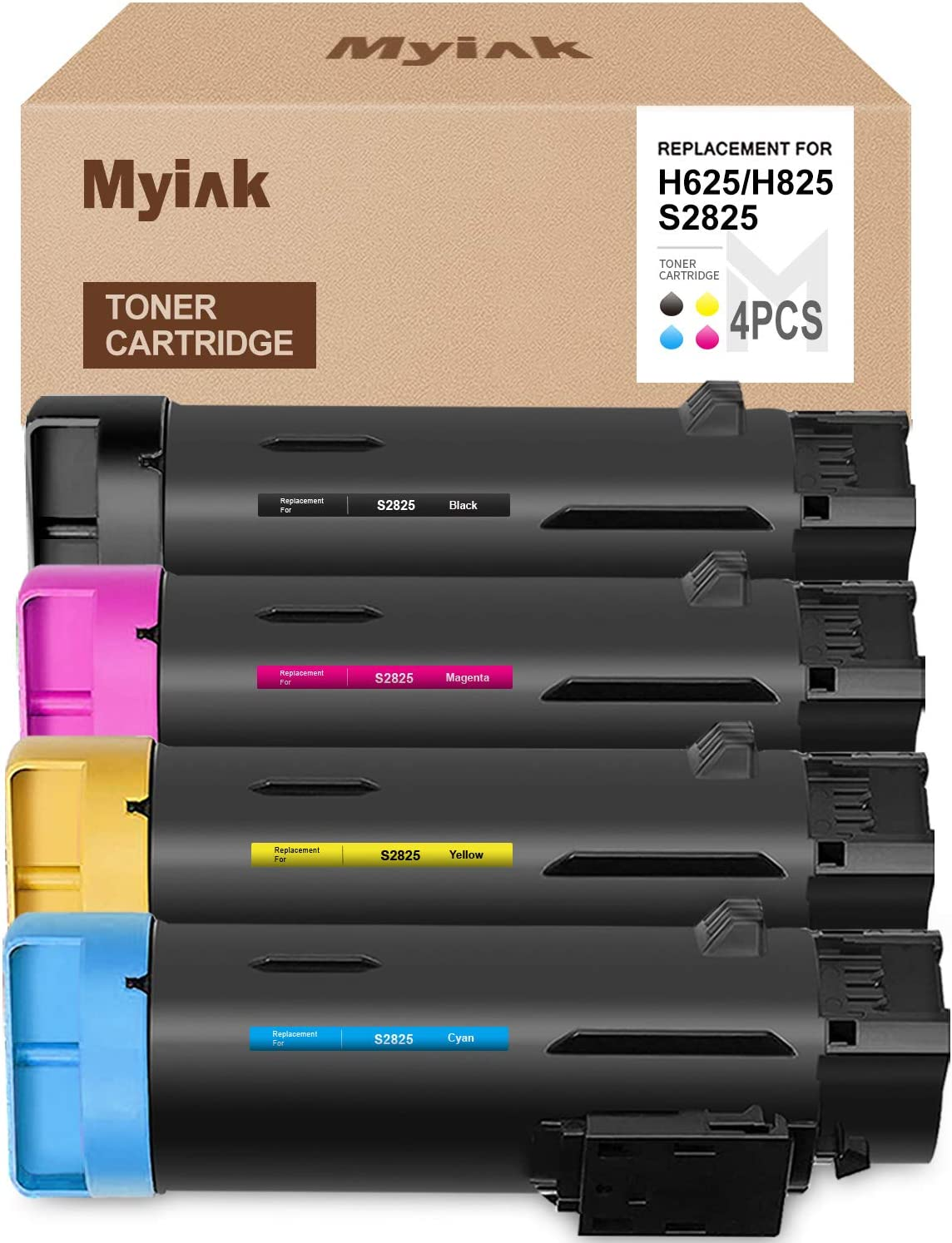 MYIK Compatible Toner Cartridge Replacements for Dell H625 H825 2825 High Yield (1 Black, 1 Cyan, 1 Magenta, 1 Yellow, 4-Pack)