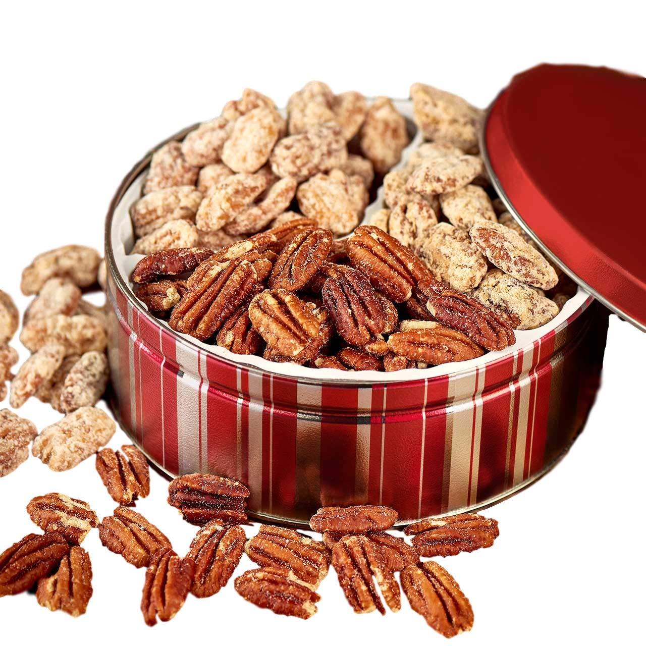 Savannah Candy Kitchen | Sweet & Salty Nut Tin | Praline, Cinnamon, and Roasted & Salted Pecan Gift Tin - 18oz