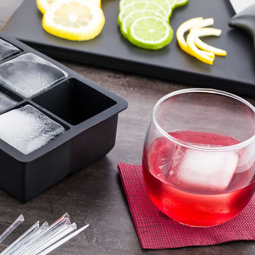 2-inch Square Ice Tray – Makes 6 Cubes: Perfect for Commercial Bars or Home Use – Constructed from Durable Black Silicone – Dishwasher Safe – 1-CT – Restaurantware