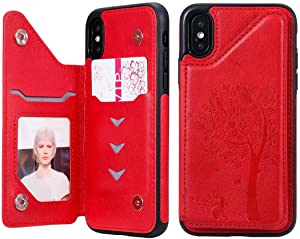 Cmeka Wallet Case for iPhone X & iPhone 10 with Card Holder Embossed Cat Tree Premium PU Leather Kickstand Double Magnetic Clasp Durable Shockproof Cover Red