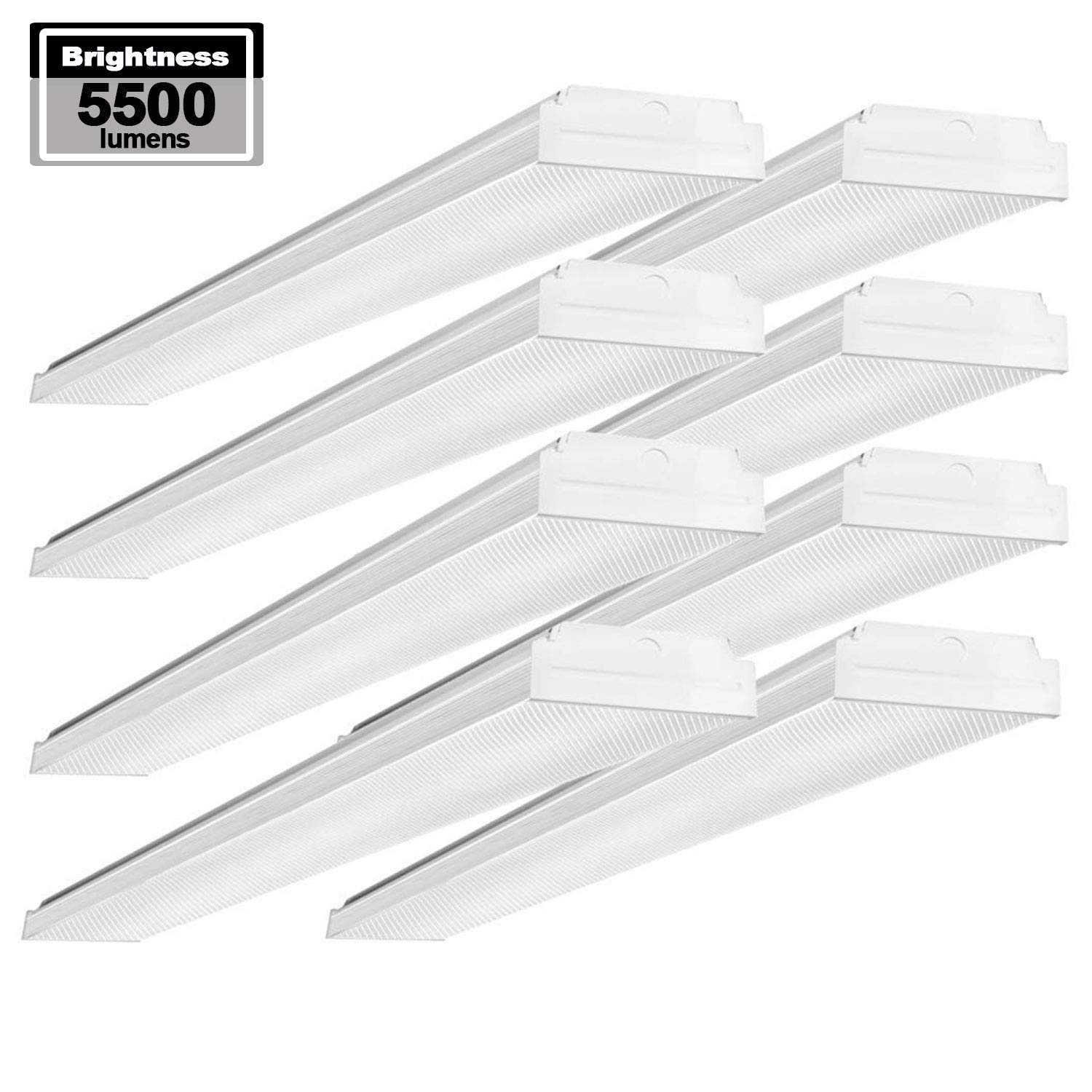 AntLux 4ft LED Garage Shop Lights LED Wraparound Light Fixture - 50W 5500LM - 4000K Neutral White - Integrated Low Profile Linear Flush Mount Ceiling Lighting - 120W Fluorescent Replacement - 8 Pack