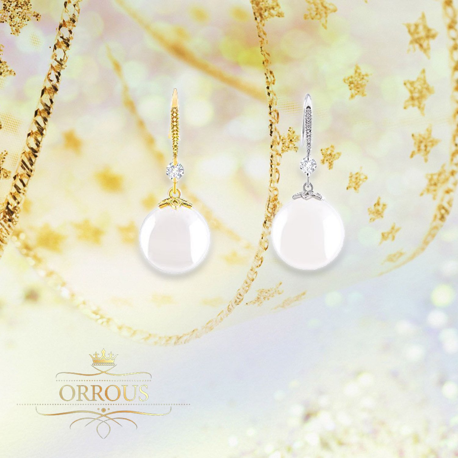 Amazon: 18k White Gold Plated White Simulated Shell Pearl With Cubic  Zirconia Accented Drop Earrings (11512 Mm) By Orrous & Co: Jewelry