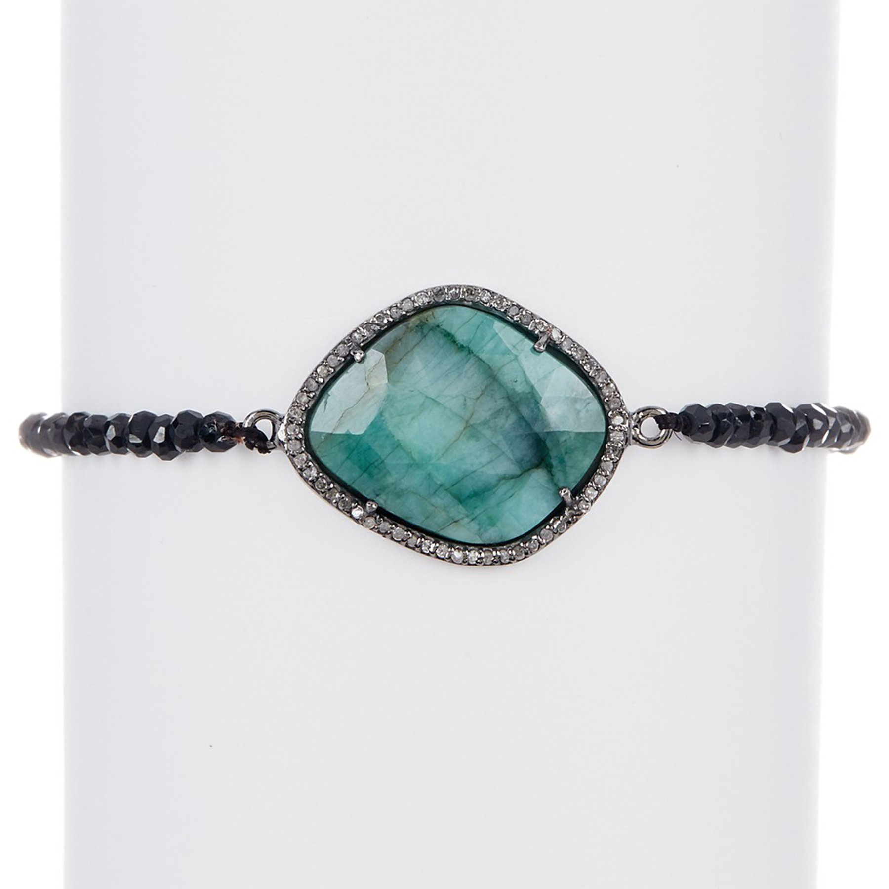 Emerald, Champagne Diamond, and Black Spinel Cayenne Bracelet by ADORNIA (Image #1)