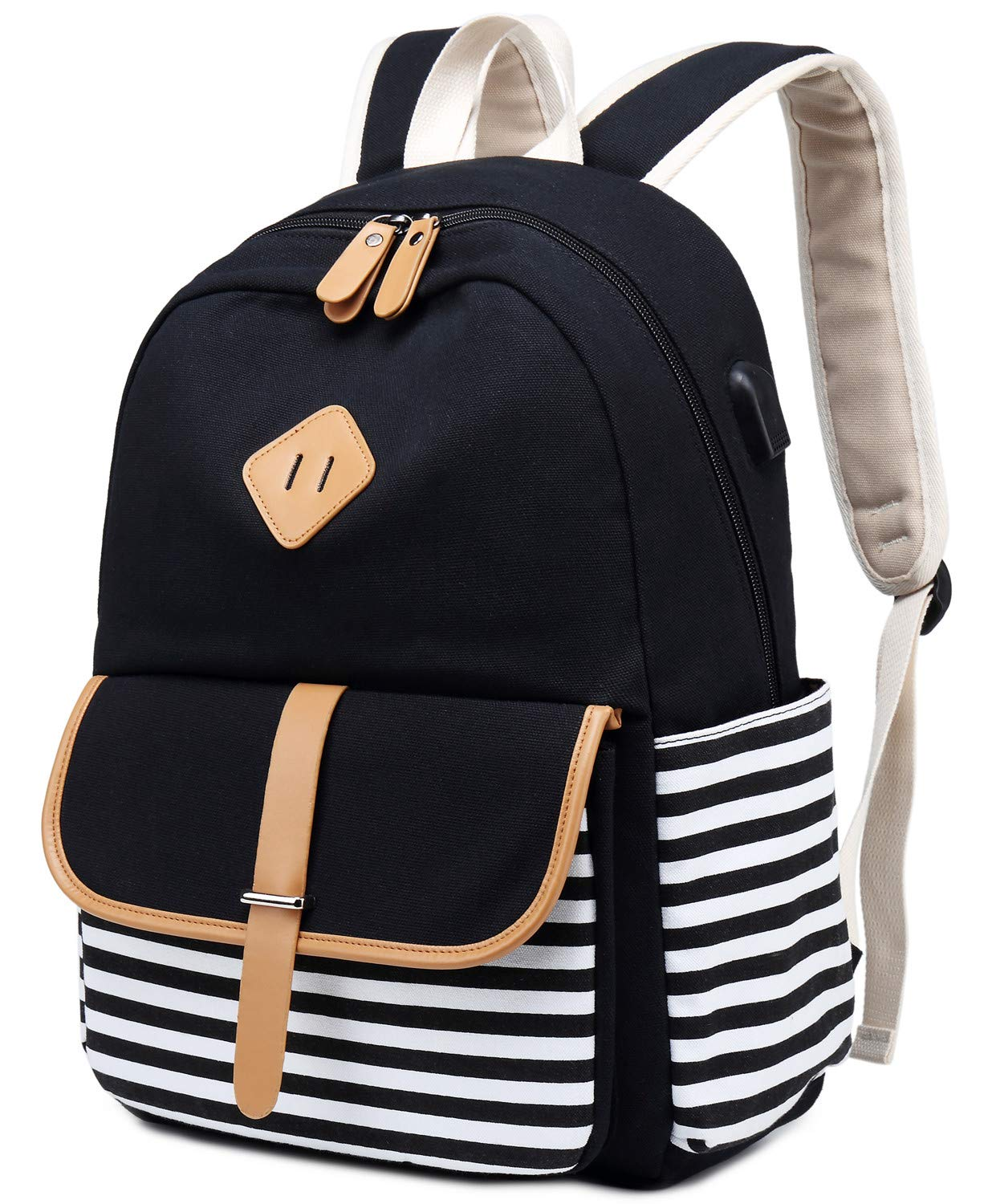 16d6614424cb Canvas Travel Laptop Backpacks Womens College Backpack School Bag 15 inch  USB Daypack Outdoor With Trolley Case Slot - Travel
