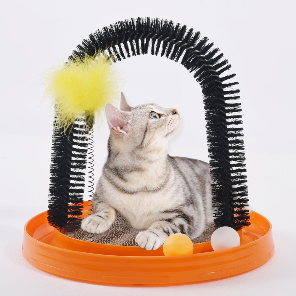 AMOMI PET Multi-Use Cat Scratch and Groom Pad with Self Grooming Brush,Free Captin,Hanging Mouse Toy,Captive Ball,Detachable Cardboard Cat Scratcher,Interactive Kitten Toys