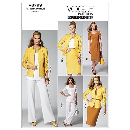 Vogue Patterns V8799 - Patrones de costura para chaquetas, blusas, vestidos, faldas y