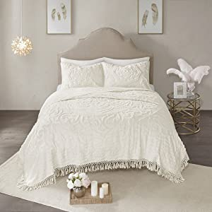 Madison Park Laetitia Coverlet Reversible 100% Cotton Chenille Floral Medallion Tufted Fringe Tassel Soft Hypoallergenic All Season Light-Weight Woven Bedding-Set, Full/Queen, Flower Embroidery Ivory