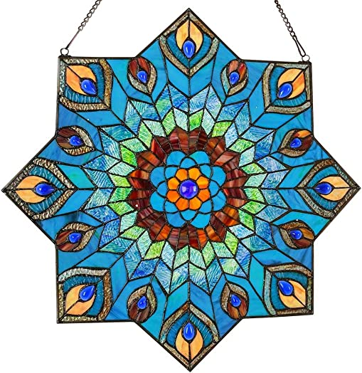 River of Goods Peacock Star 24 Inch High Stained Glass Suncatcher Window Panel, Blue, Red, Teal