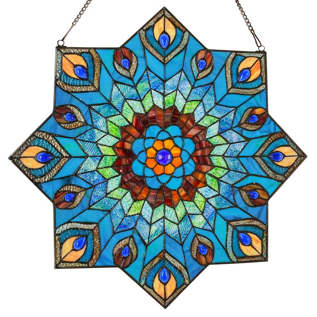 24'' Tiffany Style Stained Glass Peacock Star Window Panel