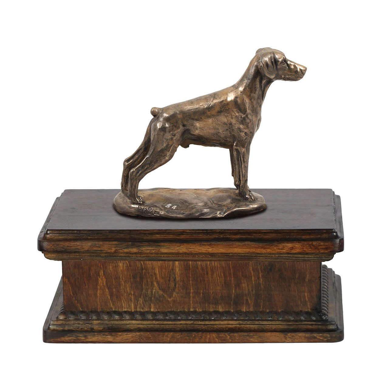 Doberman (uncropped), memorial, urn for dog's ashes, with dog statue, exclusive, ArtDog