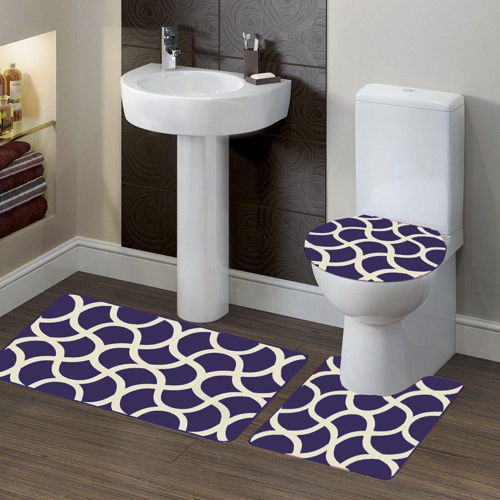 Midwest Bathroom Set 3pc GEOMETRIC Design Mat Contour Toilet Cover( #7) (PURPLE)