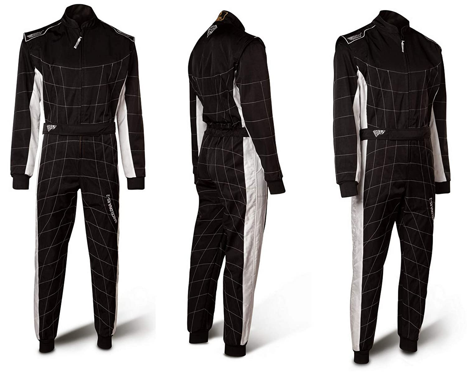 XL Rennoverall Schwarz//wei/ß Level 2 CIK FIA Approved Racing Suit Speed Kartoverall Barcelona RS-2