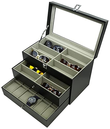 Charmant ORIGIA Holding 12 Glasses And 12 Watches, Sunglasses Watch Box Eyewear  Accessories Display Storage Case