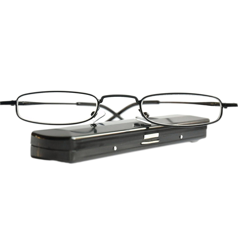 670c210debd0 Mini Slim Metal Reading Glasses | Stainless Steel Frame (Black) | FREE  Slim-Fit Aluminium Case | Reading Aid for Men and Women from Mini Brille |  +1.00 ...