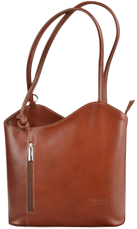 8e0897b21dd98 Ladies Vera Pelle Italian Leather Shoulder Bag Women Convertible Girls  Backpacks (Black): Amazon.co.uk: Shoes & Bags