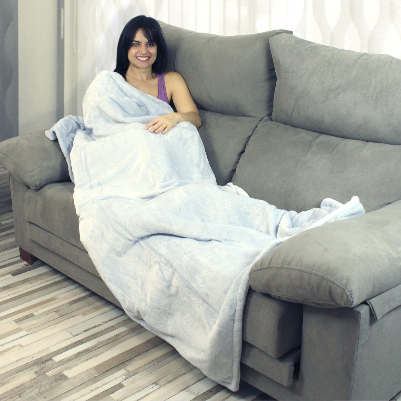 Manta eléctrica lavable Yatek de tacto super confortable y color gris, con 180 x 130 cms y 160W de potencia, tacto suave y sedoso