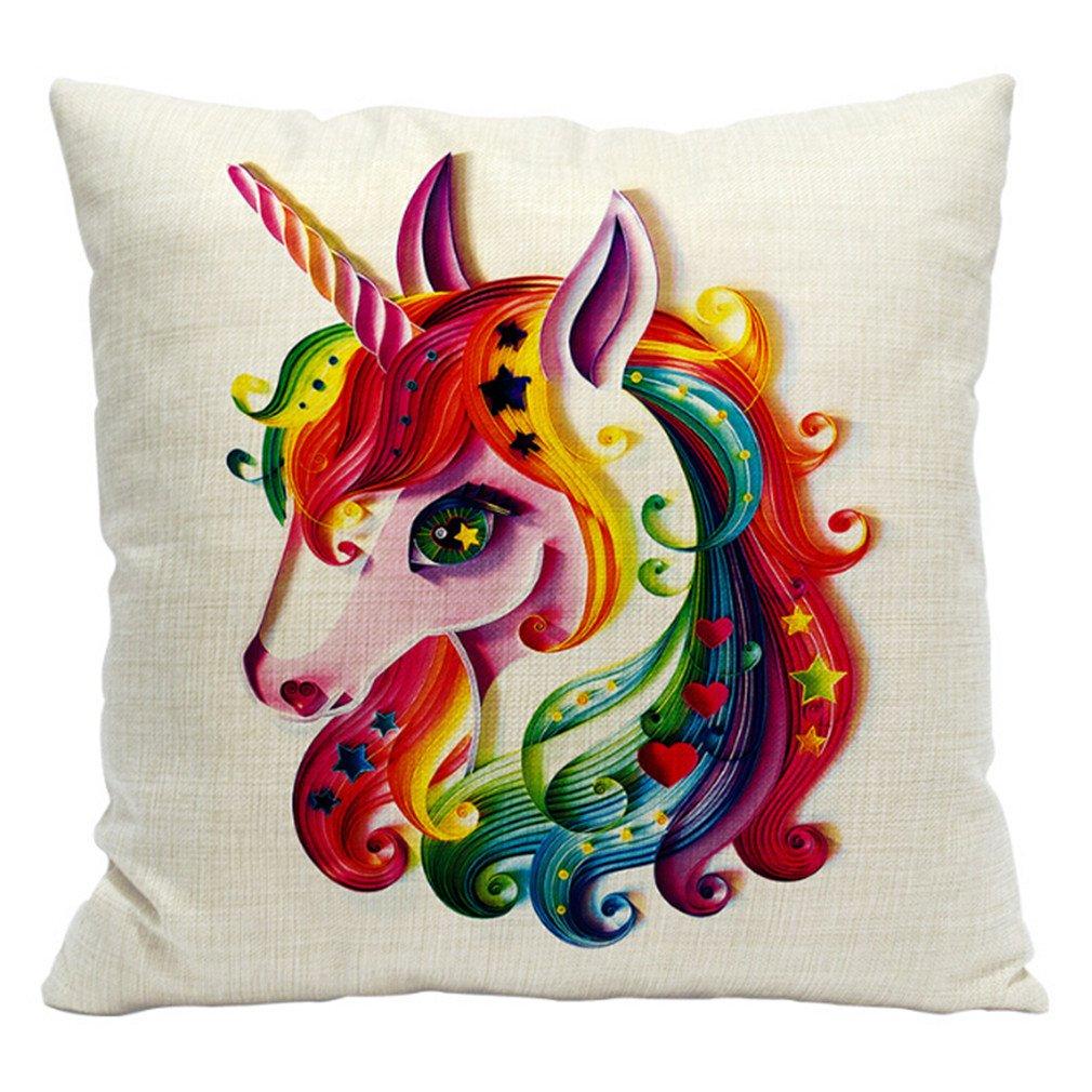 HENGSONG Unicorn Printed Pillow Case Cotton Linen Throw Pillow Cover Cushion Cover PillowCase Home Bedroom Decor (Style 10) Mei_mei9