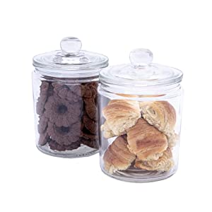 Airtight Glass Cookie and Candy Jars with Lids – Round Flour and Sugar Canisters – Half Gallon Food Storage Jars with Chalkboard Stickers Included – Set of 2