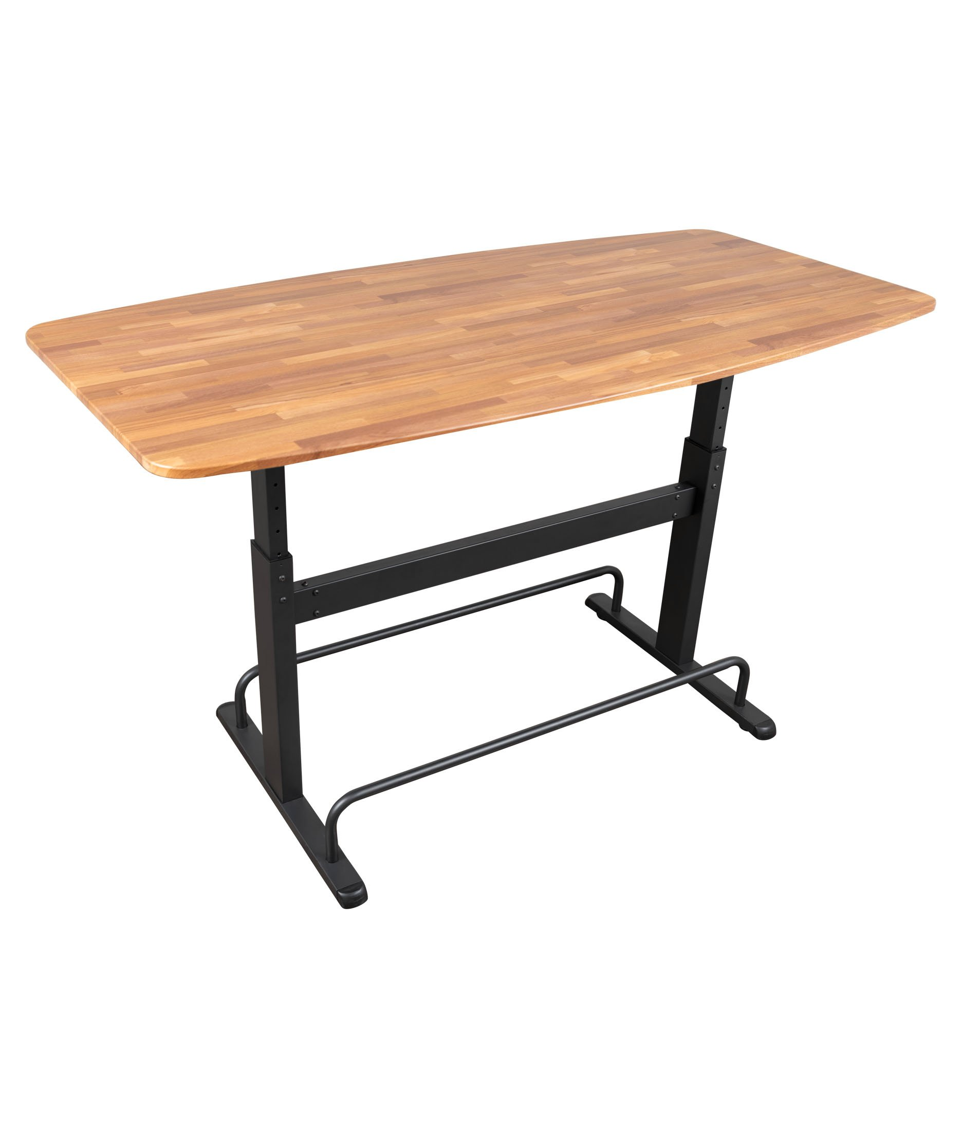 Height Adjustable Standing Conference Table | Meeting Table | Collaboration Table (72'') Fixed, Charcoal Frame/Butcher Block Top) by Stand Up Desk Store