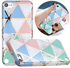 KZONO New iPod Touch 7, iPod Touch 6th Generation, iPod Touch 5 Unique Marble Pattern Print Cute Clear Soft Silicone Cover for Girls/Women Flex Slim Pattern Design Protective Case -Colorful Triangles