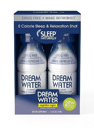 Dream Water Natural Sleep Aid, GABA, MELATONIN, 5-HTP, 2.5oz Shot, NighTEA Night, 4 Count