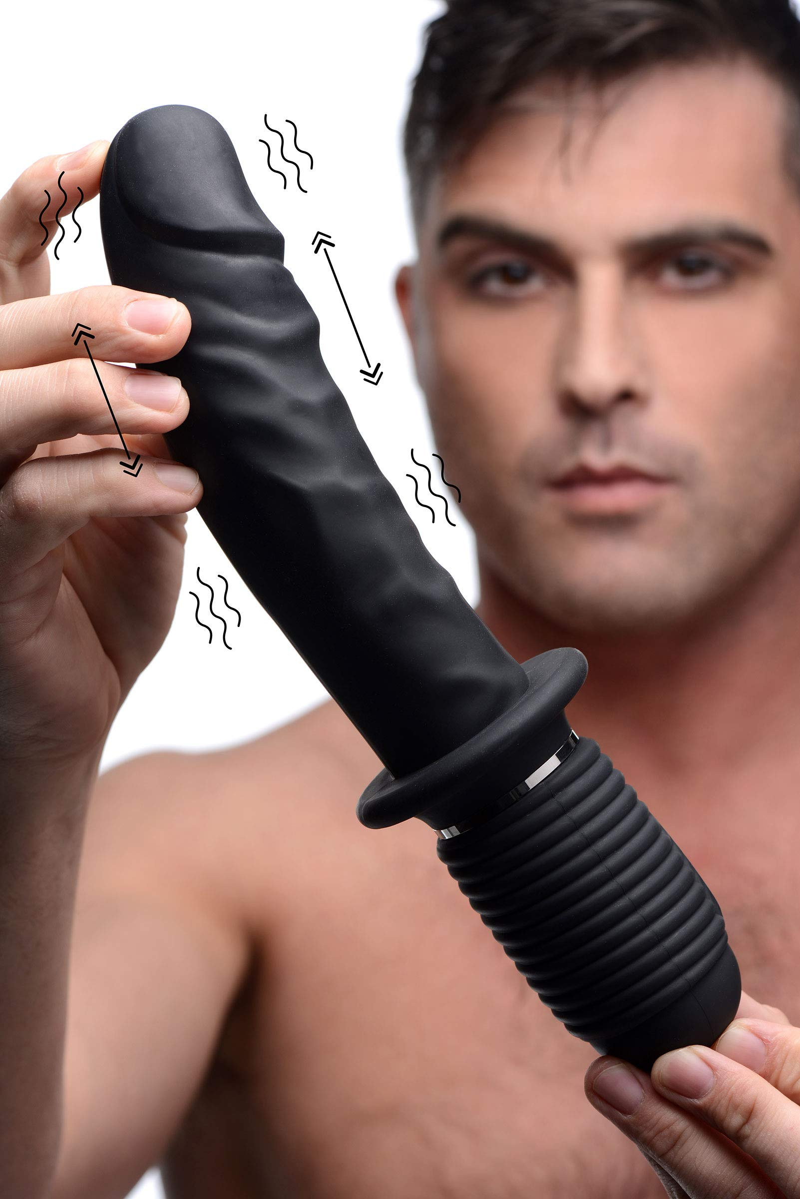 Master Series Power Pounder Vibrating and Thrusting Silicone Dildo by Master Series
