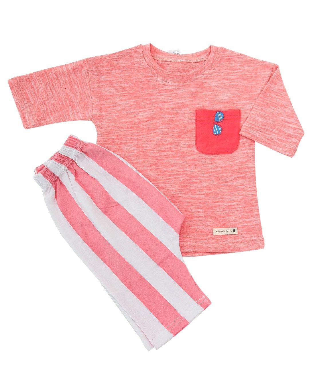 Lintto Pocket Sunglasses Embroidery Girls 2 Piece 3/4 Sleeves Pajama Set Cotton 100% Kids PJS Sleepwear (140(8T-9T))