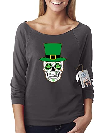 94fc54aa57f49 St Patricks Sugar Skull Clover Shirt Off The Shoulder French Terry Top at  Amazon Women s Clothing store