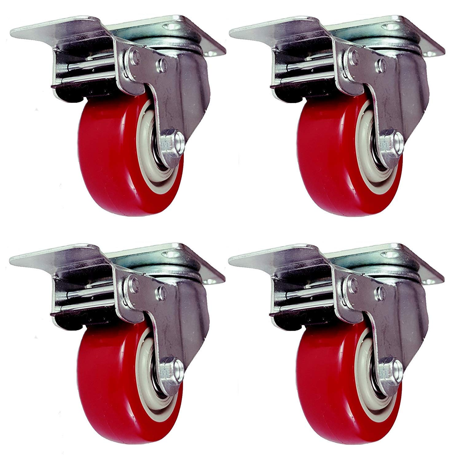 Online Best Service 4 Pack 5 Inch Caster Wheels Swivel Plate with Brake on Red Polyurethane Heavy Duty Wheels