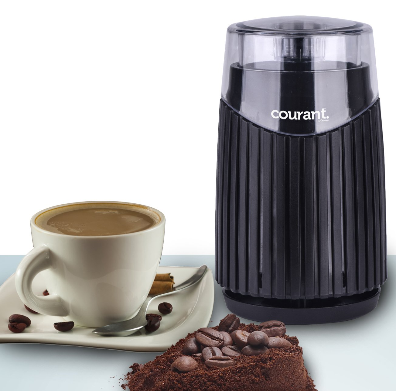 Courant Electric Coffee Grinder, Stainless steel bowl and blades Grinds Coffee, Beans & Spices, Black