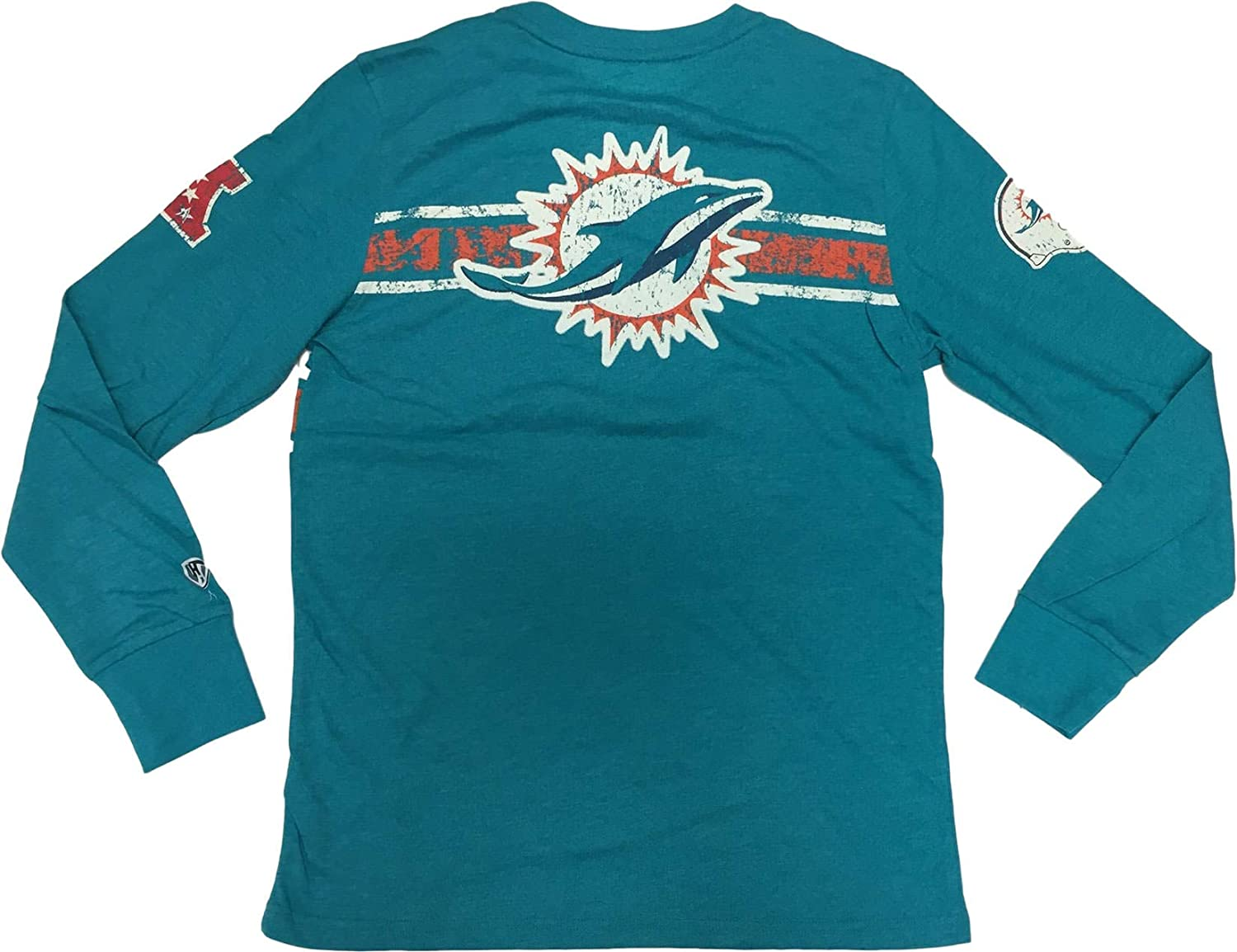 G-III Sports Miami Dolphins Mens Long Sleeve Teal Distressed Crew Neck T-Shirt