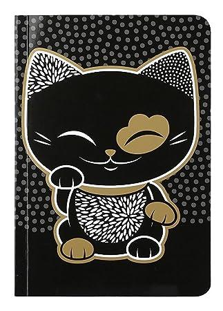 Cuaderno con líneas gato puerta felicidad Mani The Lucky Cat ...